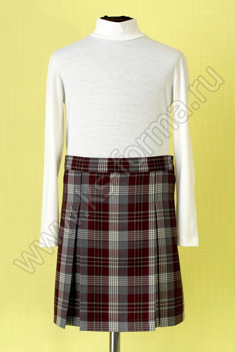 Школьная юбка в складку модель №2, цвет 59-01 комб. бордо-клетка