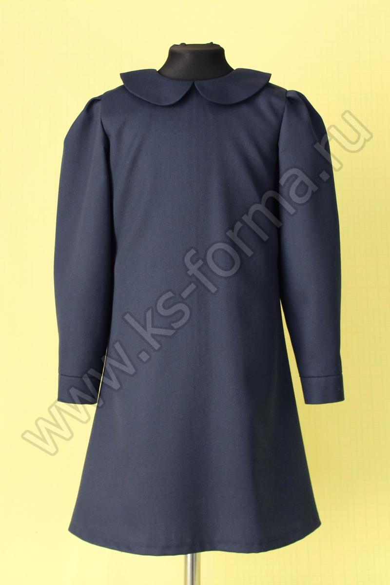 Школьное платье модель №3-01 цвет синий однотонный