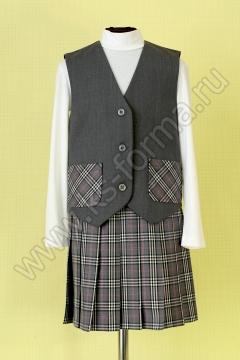 Жилет школьный для девочки модель №1 цвет 10-01 серый
