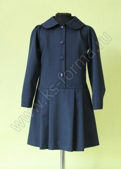 Платье школьное модель №1-01 цвет синий однотонный