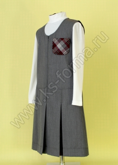 Сарафан школьный полушерстяной модель №2 цвет серый 59-01