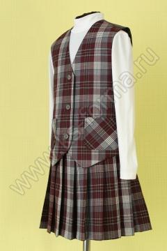 Школьный полушерстяной жилет для девочки модель №1 цвет 59-01 серый