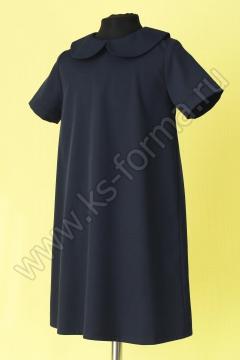 Платье школьное свободного покроя модель №3-03 цвет синий однотонный