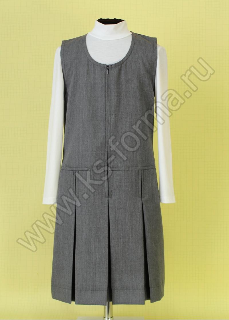 Сарафан школьный модель №2 цвет серый