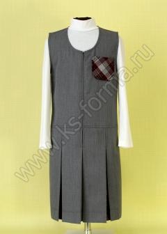 Сарафан школьный полушерстяной модель №2 цвет 59-01 серый