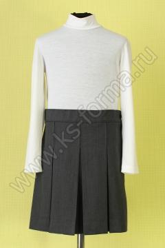 Школьная юбка серая однотонная модель №3