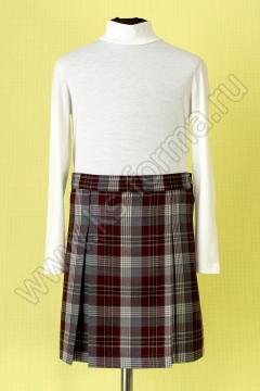 Школьная юбка в складку модель №2 цвет 59-01 бордо клетка