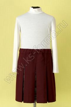 Школьная в складку бордовая юбка модель №3, цвет 59-01 бордо